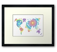 World Map Mandala Framed Print