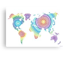 World Map Mandala Canvas Print