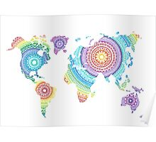 World Map Mandala Poster