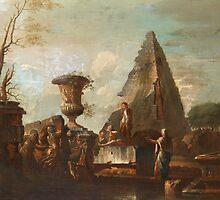 GIOVANNI PAOLO PANINI CIRCLE OF, CARPRICCO WITH FIGURES by Adam Asar