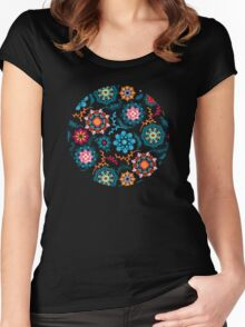 Suzani Inspired Pattern on Black Women's Fitted Scoop T-Shirt