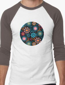 Suzani Inspired Pattern on Black Men's Baseball ¾ T-Shirt