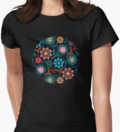 Suzani Inspired Pattern on Black Womens Fitted T-Shirt