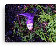 Purple Haired Decapitated Doll  Canvas Print