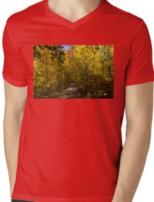 Sun Dappled Autumn Path - Enjoying a Sunny Forest Walk Mens V-Neck T-Shirt