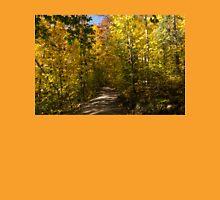 Sun Dappled Autumn Path - Enjoying a Sunny Forest Walk Unisex T-Shirt