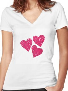 Pink wicker hearts vector design elements Women's Fitted V-Neck T-Shirt
