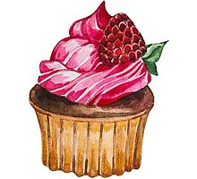 Watercolor Cupcake Photographic Print