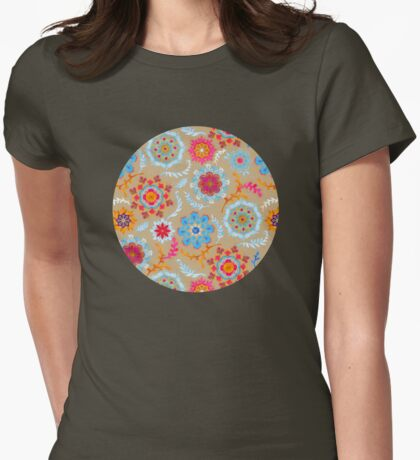 Brown Sugar Suzani Inspired Pattern Womens Fitted T-Shirt