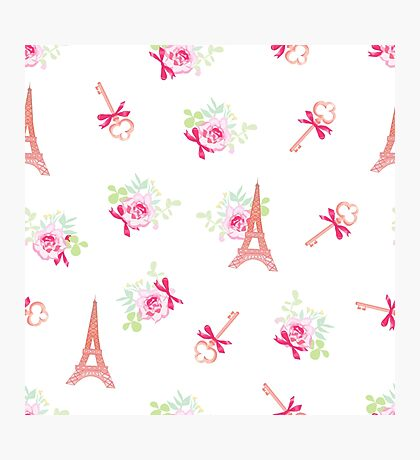 Cute Eiffel towers and secret keys floral seamless vector pattern. Paris inspired design print. Photographic Print