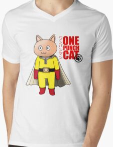 One Punch-Cat Mens V-Neck T-Shirt