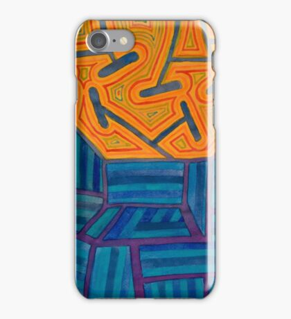 Blue Striped Segments combined with Orange Area iPhone Case/Skin