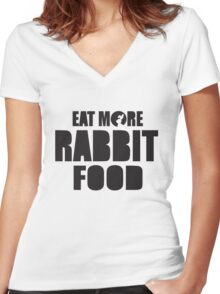 Eat more rabbit food! Women's Fitted V-Neck T-Shirt