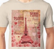 Vintage Eiffel Tower Hearts And Roses Unisex T-Shirt