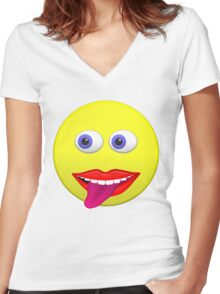 Smiley With Tongue Out Women's Fitted V-Neck T-Shirt