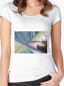 landscape lake at sunset Women's Fitted Scoop T-Shirt