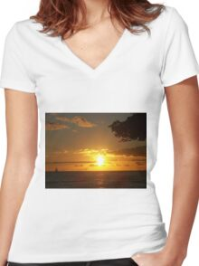 Sky Fire Women's Fitted V-Neck T-Shirt
