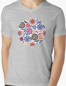 Happy Color Suzani Inspired Pattern Mens V-Neck T-Shirt