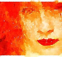 Red hair portrait on watercolor by mrnobody15