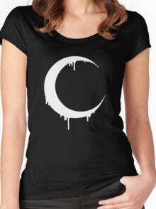 Melting Moon (black) Women's Fitted Scoop T-Shirt