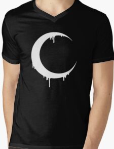 Melting Moon (black) Mens V-Neck T-Shirt