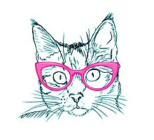 Hipster Cat Photographic Print