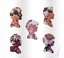 One Direction Floral Silhouettes Poster