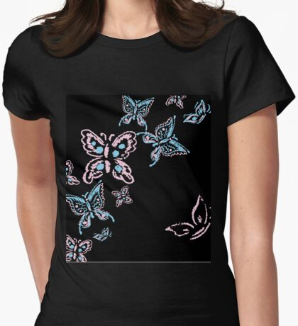 Illustration handmade drawing pastel chalks butterfly Womens Fitted T-Shirt