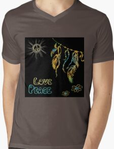 Hand drawn hippie background on black Mens V-Neck T-Shirt