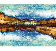Gold and Blue Landscape Photographic Print