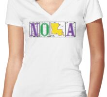 Mardi Gras NOLA Street Tiles Women's Fitted V-Neck T-Shirt