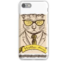 Hand Drawn Fashion Portrait of Cat Hipster  iPhone Case/Skin
