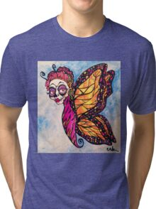 Frida Calavera Butterfly Woman Tri-blend T-Shirt