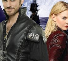 Once upon a time, OUAT, OUAT swan hook, Emma and Killian, Swan and hook, OUAT moon ship, version 2 Sticker