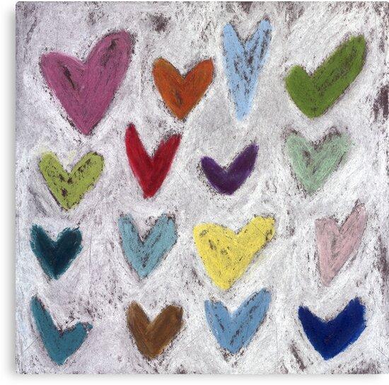 Happy Hearts I by Tine  Wiggens