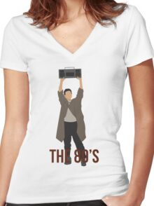 Say Anything - Famous Boombox Scene Women's Fitted V-Neck T-Shirt