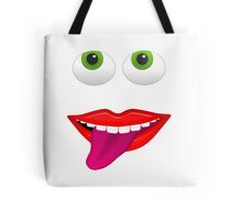 Smiling Mouth With Tongue Out and Green Eyes Tote Bag