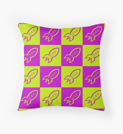 Retro space rockets pattern, apple green and deep magenta Throw Pillow