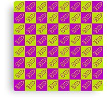 Retro space rockets pattern, apple green and deep magenta Canvas Print