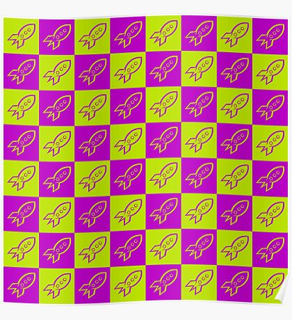 Retro space rockets pattern, apple green and deep magenta Poster