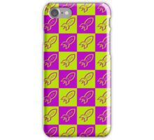 Retro space rockets pattern, apple green and deep magenta iPhone Case/Skin