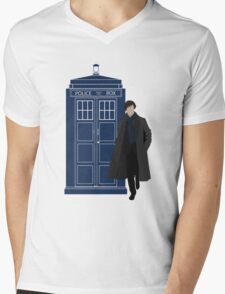 Dr. Who / Sherlock Mens V-Neck T-Shirt