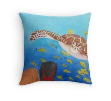 Turtle and Diver Throw Pillow