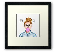 """Geek Girl "" Blonde version  Framed Print"