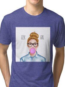 """Geek Girl "" Blonde version  Tri-blend T-Shirt"
