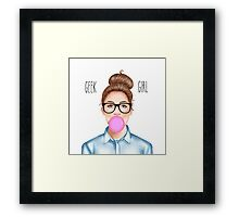 """""""Geek Girl """" brunette version Framed Print"""