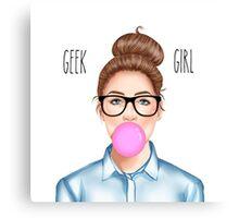 """Geek Girl "" brunette version Canvas Print"