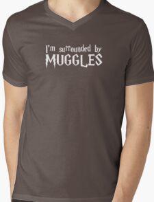 I'm Surrounded by Muggles (White) Mens V-Neck T-Shirt
