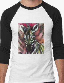 Zebra baby pink Men's Baseball ¾ T-Shirt