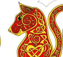 Red and Gold Celtic Cat Tee Sticker